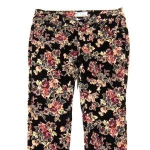 Free People Jeans Skinny Leg Corduroy Floral 26